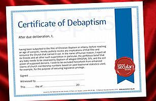 Certificate of Debaptism